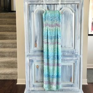 Scala Silk Mystic Water Beaded Gown w/Scarf NWT